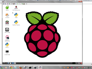 Connected using Tight VNC Viewer to the Raspberry Pi
