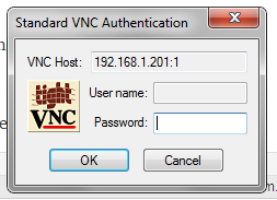 Password prompt for VNC viewer