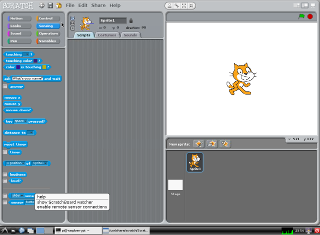 Enable remote sensor in Scratch