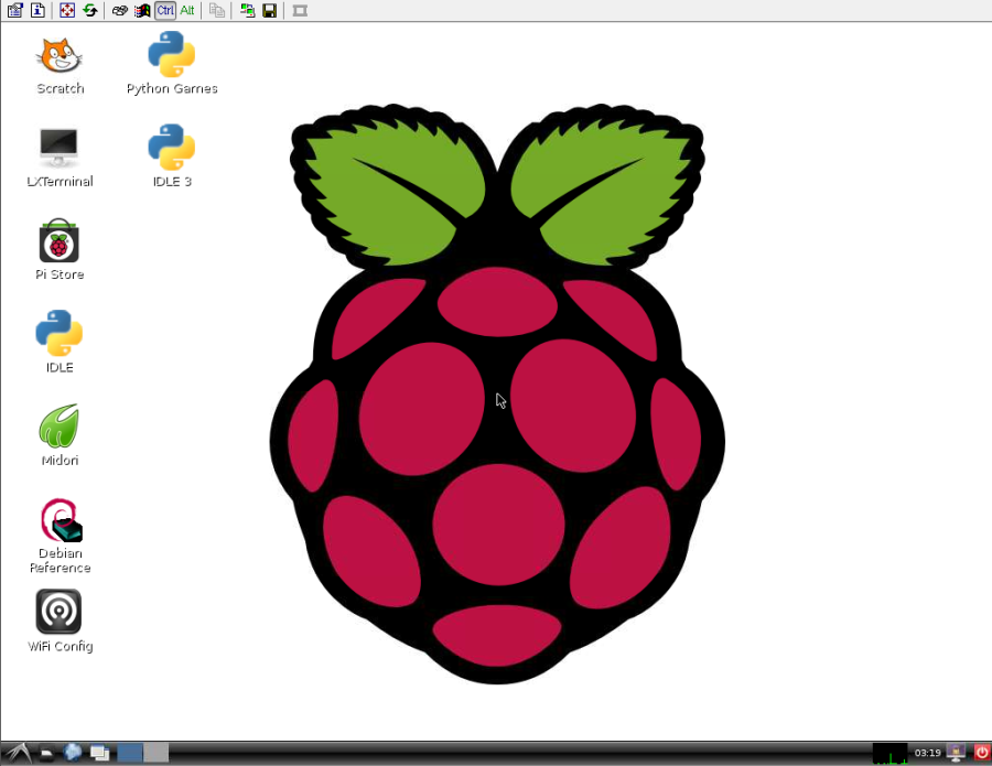 Raspberry Pi starting screen