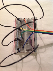 All cables from Pi connected onto breadboard
