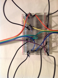 Cables from Pi and Controller connected onto breadboard