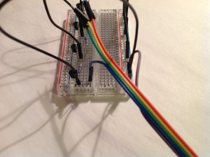 Blue cable from Pi connected on breadboard